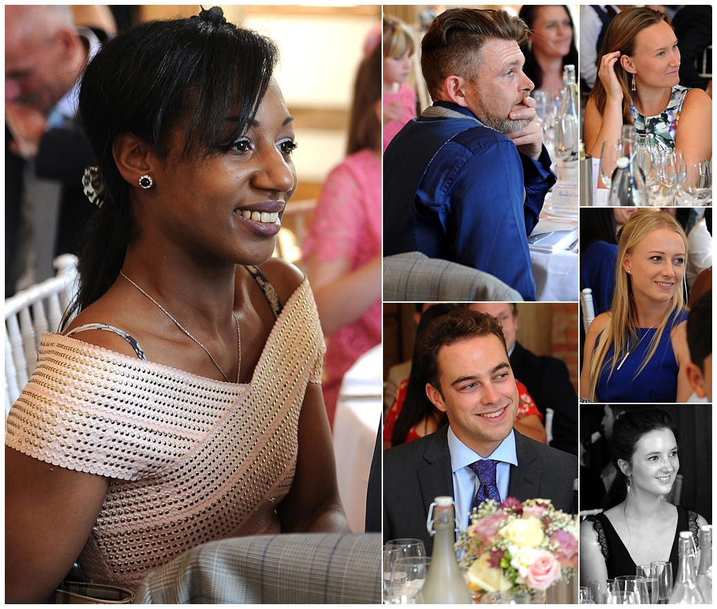 Pictures of various wedding guests captured smiling taken during the entertaining speeches at Surrey venue Cain Manor in the Music Room