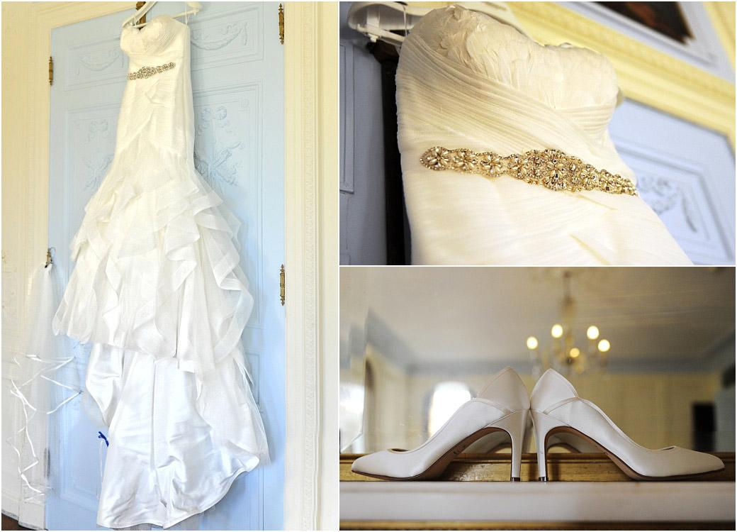 Compilation pictures of a beautiful wedding dress hanging up on the wall and a pair of shoes on the mantelpiece at Surrey wedding venue Addington Palace