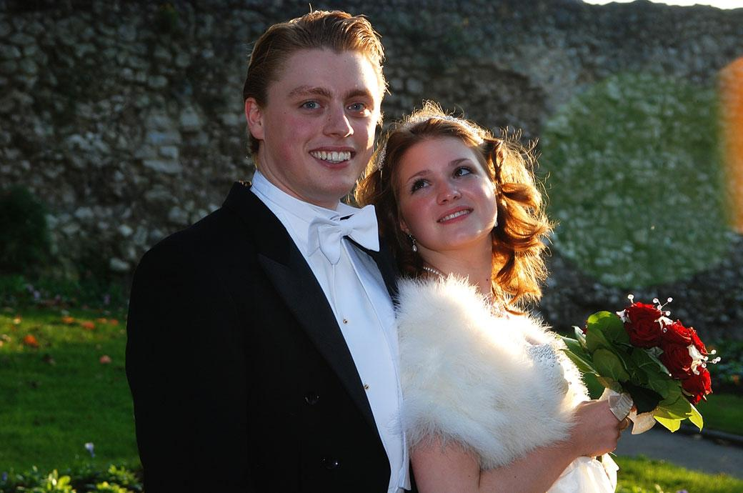A beautiful young lovers wedding photograph taken at Guildford Castle after being at The Angel Posting House for their Surrey wedding ceremony