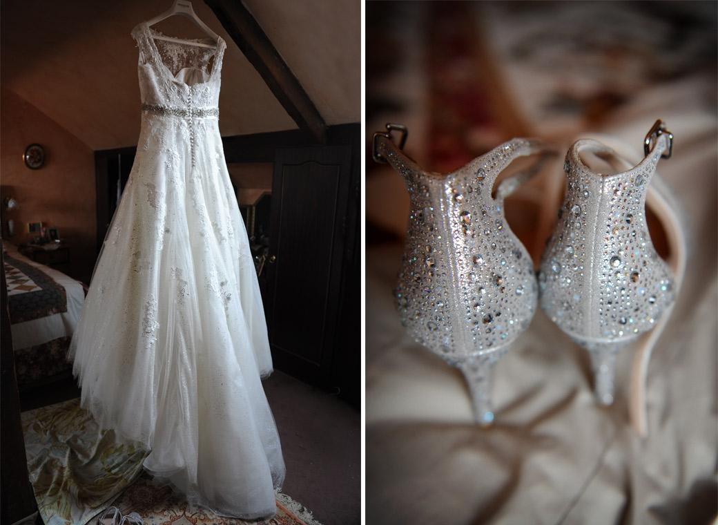 Bride's wedding dress and sparkly shoes captured in this wedding photograph before her marriage at Surrey wedding venue Burford Bridge Hotel in Dorking