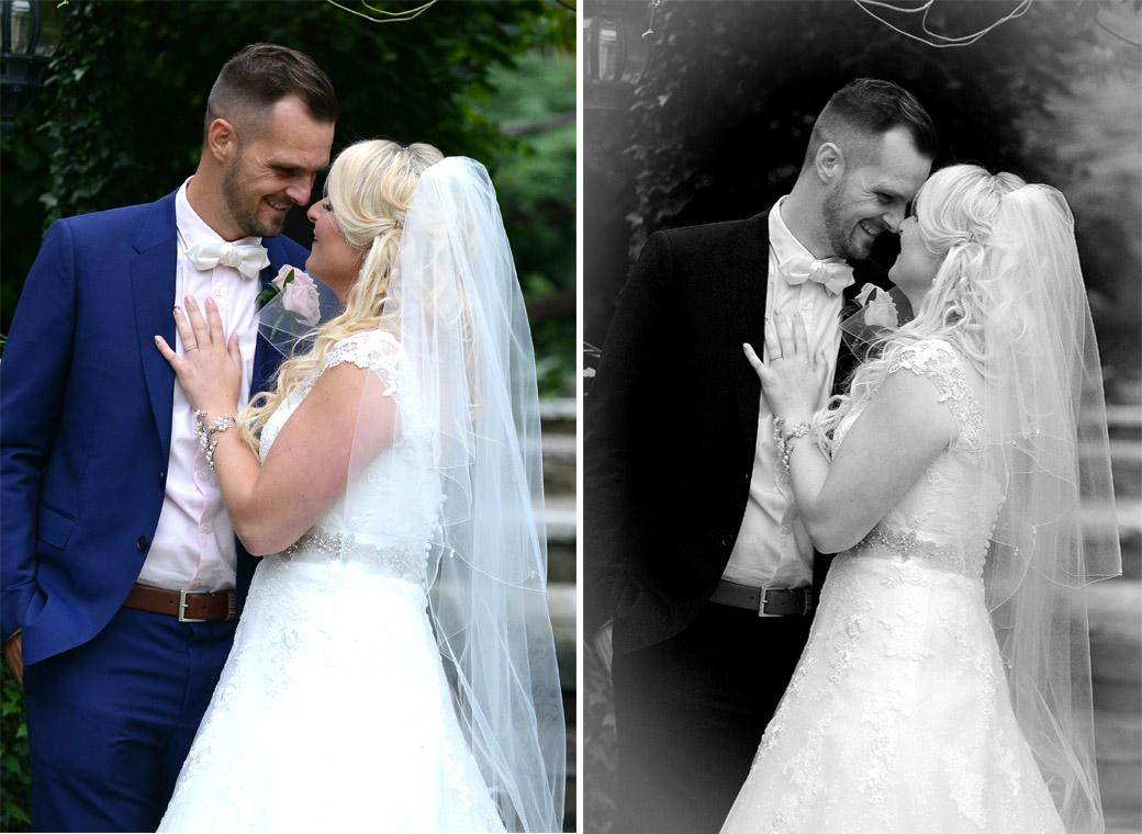 Tender loving smiles and shared moments capture in the garden in this wedding photo taken at Burford Bridge Hotel in Dorking by Surrey Lane wedding photographers
