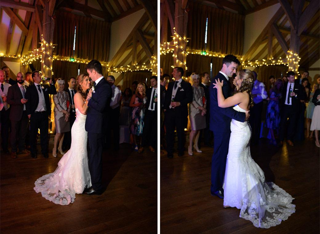 The Bride and Groom enjoying their first dance in these two wedding photos taken at Cain Manor in the Music Room by a Surrey Lane wedding photographer