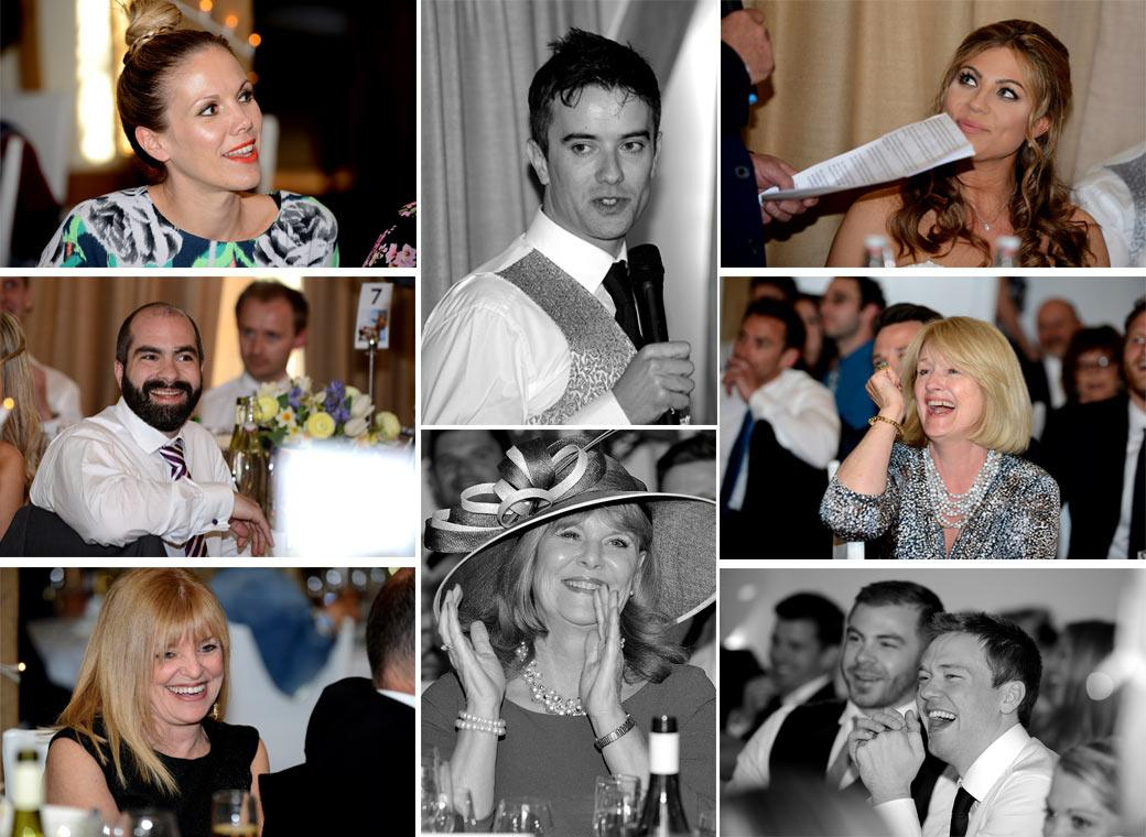 Lots of fun reactions captured here in this wedding photo montage captured in Surrey wedding venue Cain Manor during the entertaining speeches