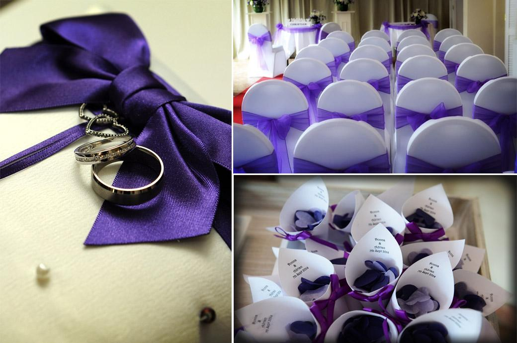 Wedding picture of mauve chair sashes, mauve confetti holders and the ring tied with a mauve bow captured at the intimate Chalk Lane Hotel by Surrey Lane wedding photography
