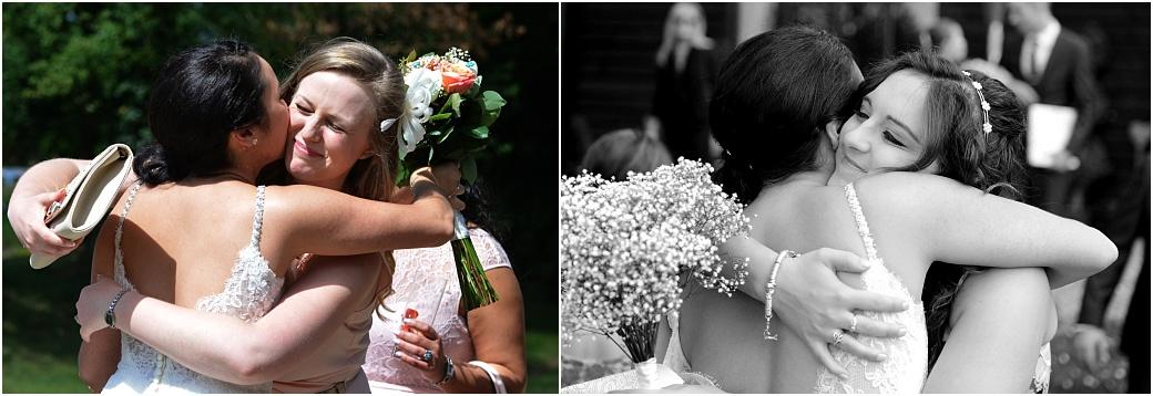 Two wedding pictures of the Bride receiving heartfelt hugs from close friends after a Clock Barn Hall marriage ceremony caught by Surrey Lane wedding photographers