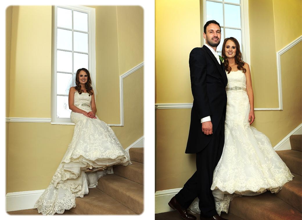 Bride sitting in the window sill waiting and standing with her husband in these wedding pictures taken on a staircase in the wonderful Farnham Castle in Surrey