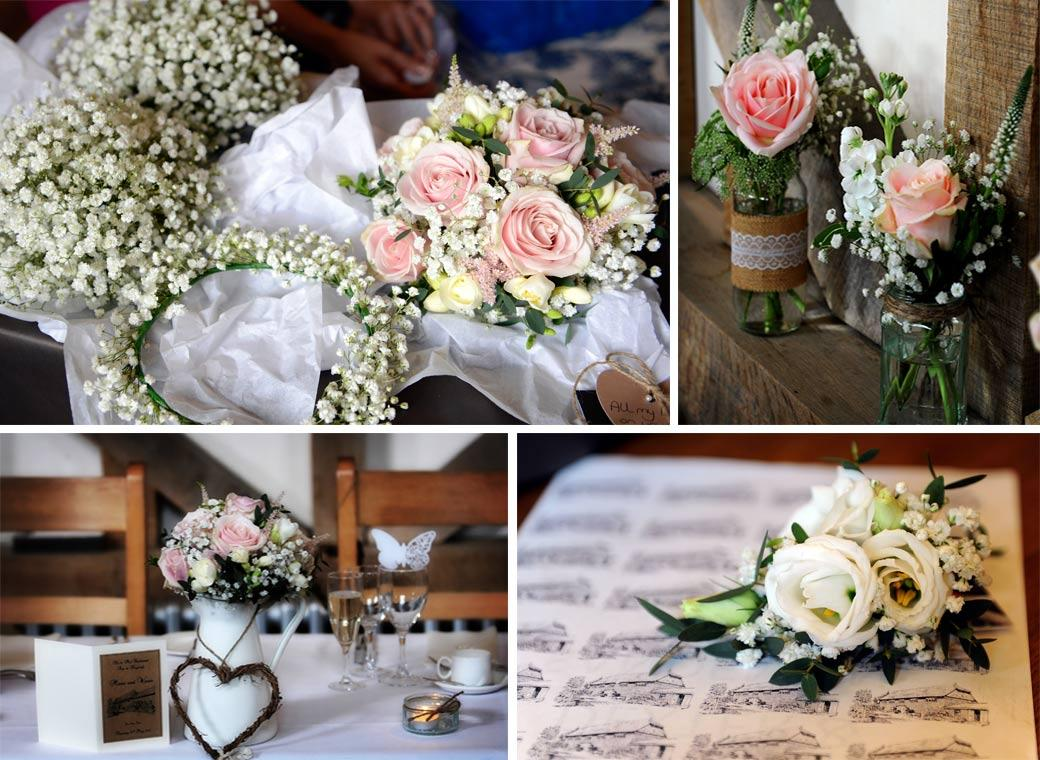 A collection of beautiful floral bouquets and flower table arrangments in this collection of wedding pictures taken at the Surrey wedding venue Gate Street Barn in Surrey