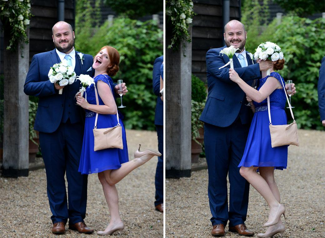 Legs, wedding bouquets, smiles and laughter captured in these fun wedding pictures taken at Surrey wedding venue Gate Street Barn out in the relaxing and tranquil garden
