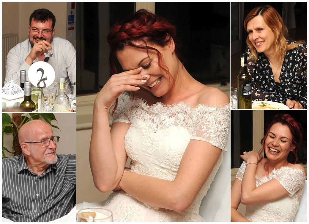 Various pictures of a laughing bride and guests captured at the Surrey wedding venue Gatton Manor in the Lakeview Room during the funny and entertaining wedding speeches
