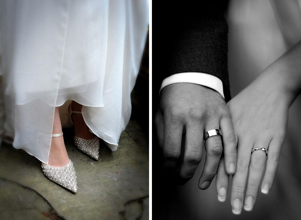 Two lovely delicate wedding photographs of the Bride and Groom's wedding rings and Bride's shoes taken at the Surrey wedding venue Gatton Manor