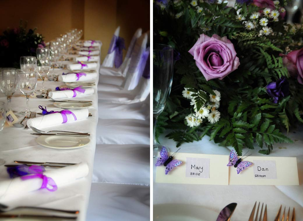 Purple and mauve flowers and table setting wedding pictures taken at Gatton Manor nr Dorking Surrey captured by Surrey Lane wedding photography