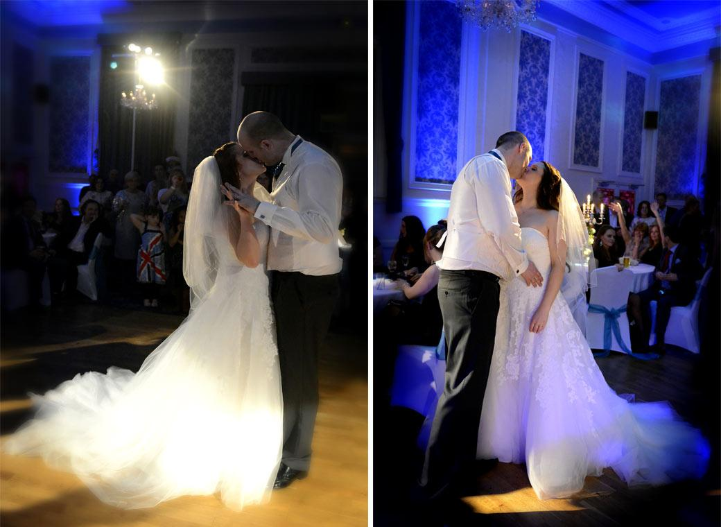 Two romantic Bride and Groom kissing and dancing wedding photographs captured on the  Elizabethan Suite ball room dance floor at Glenmore House