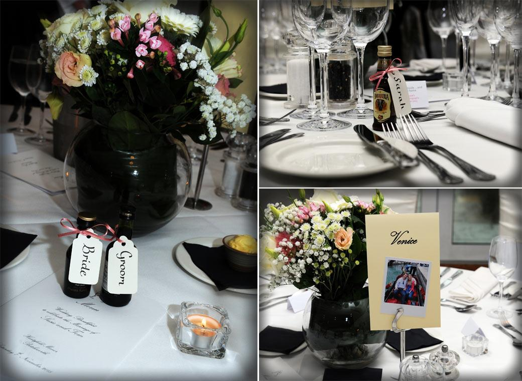 Wedding breakfast settings including flowers, table places and favours captured at Hartsfield Manor, Betchworth by Surrey Lane wedding photographers