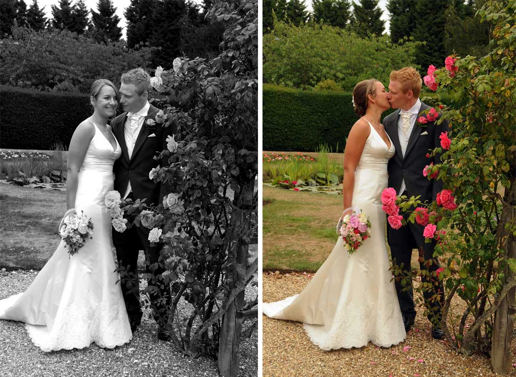 Two intimate photos of the Bride and Groom taken in the rose garden at the Surrey wedding venue of Hartsfield Manor, Betchworth