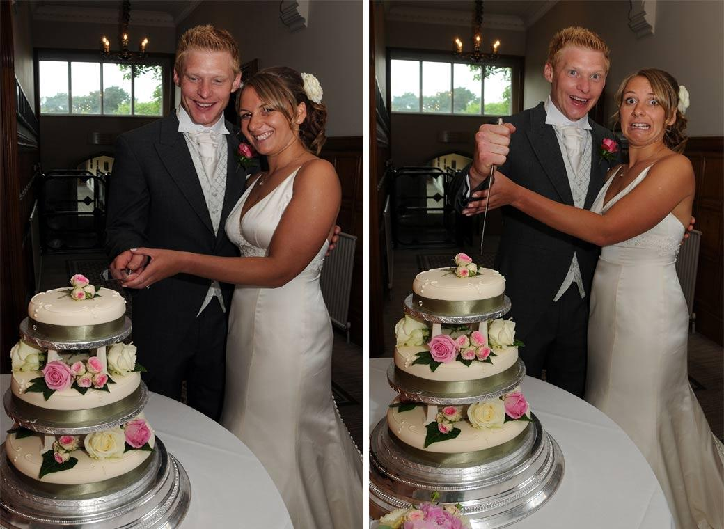 Two fun cake cutting wedding photographs captured at Hartsfield Manor Betchworth by Surrey Lane wedding photography