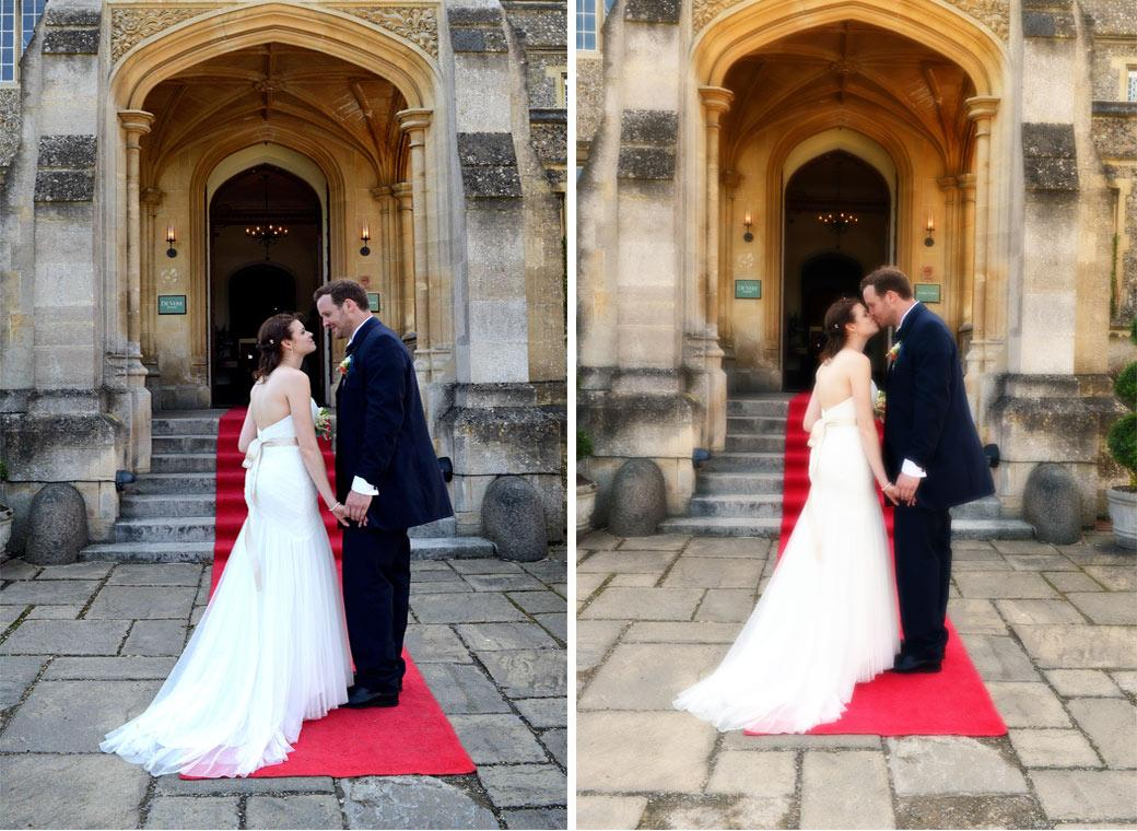 Love and a kiss on the red carpet in these romantic wedding photos taken outside the entrance of the wonderfully eccentric Surrey wedding venue Horsley Towers
