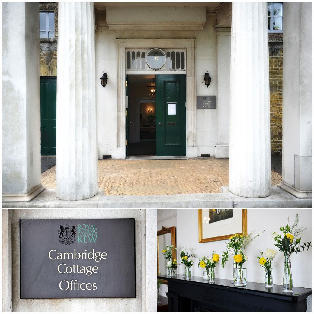 Columned door entrance and flowers on display in the corridor of the world famous Kew Gardens and Surrey wedding venue at Cambridge Cottage