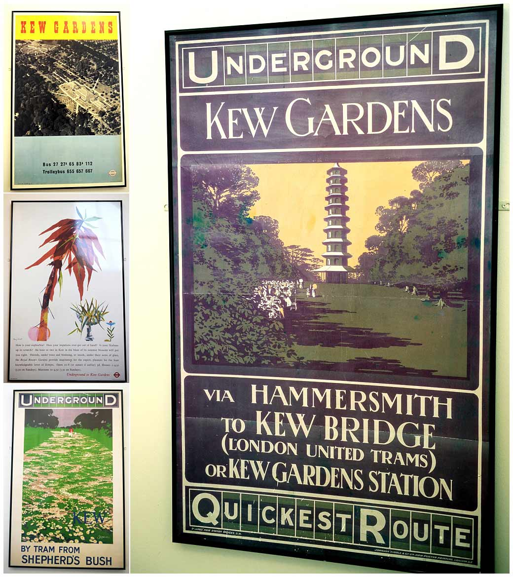 Colourful London Transport posters advertising Kew Gardens and captured in The Gallery corridor at the fabulous and unique Surrey wedding venue at Cambridge Cottage