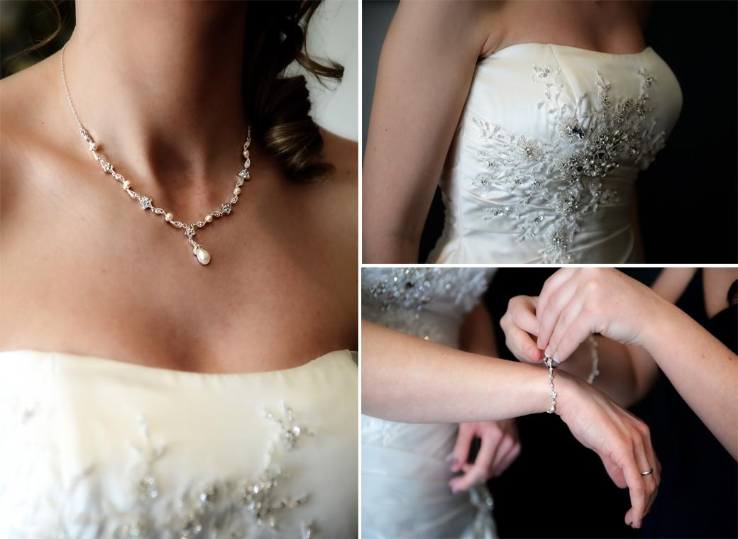 A compilation of lovely wedding pictures of the Bride's sparkling wedding dress, necklace and bracelet taken at Kingswood Golf Club by a Surrey Lane wedding photographer