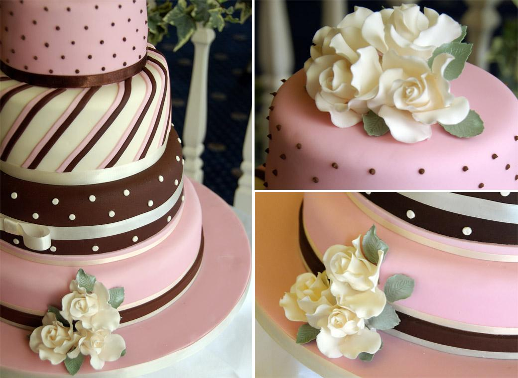 Brown white and pink coloured wedding cake complete with stripes and dots in this fun and colourful wedding photo from Surrey wedding venue Kingswood Golf Club