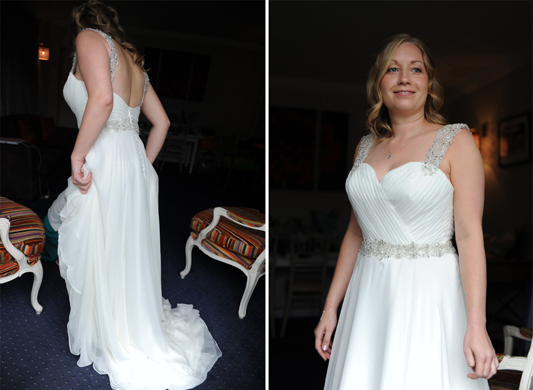 A happy bride caught in these lovely wedding pictures taken at Surrey wedding venue Lythe Hill Hotel looking fabulous in her wedding dress and ready to leave for the Garden Room