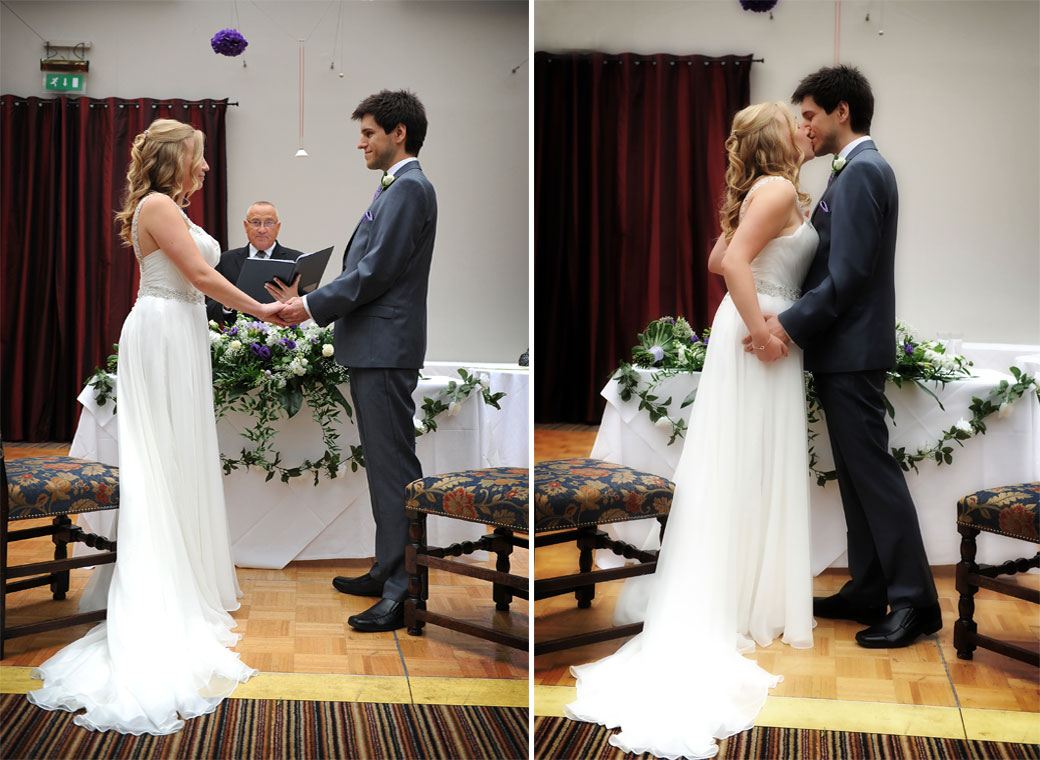 Two wedding pictures of the Bride and Groom as they hold hands and are announced husband and wife after which they kiss at Lythe Hill Hotel Surrey in The Garden Room