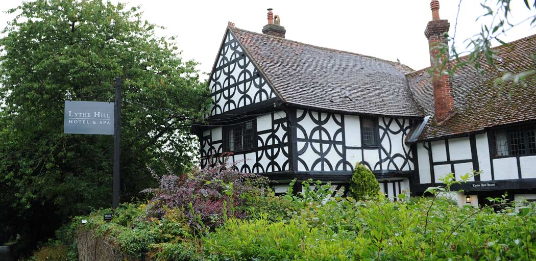 The  distinctive Tudor House with its dark exposed beams dates back to 1475 and is now the restaurant for Surrey wedding venue Lythe Hill Hotel in Haslemere