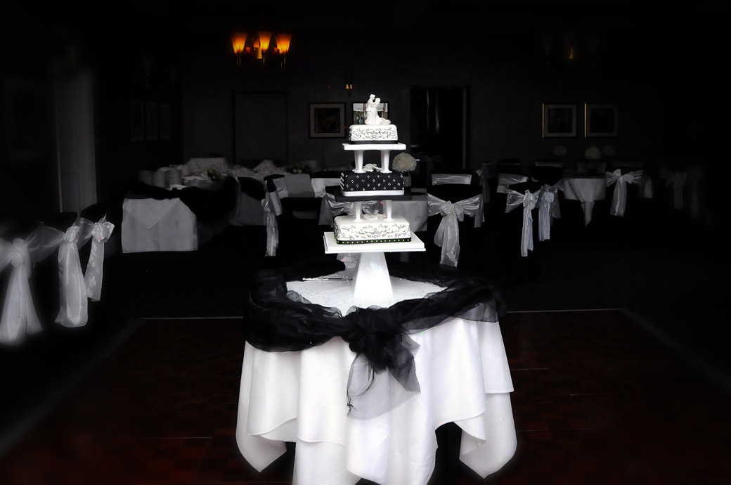 A sensuous wedding cake picture dressed in black and white taken in The Fielden Suite at Nutfield Priory Redhill by Surrey Lane wedding photography