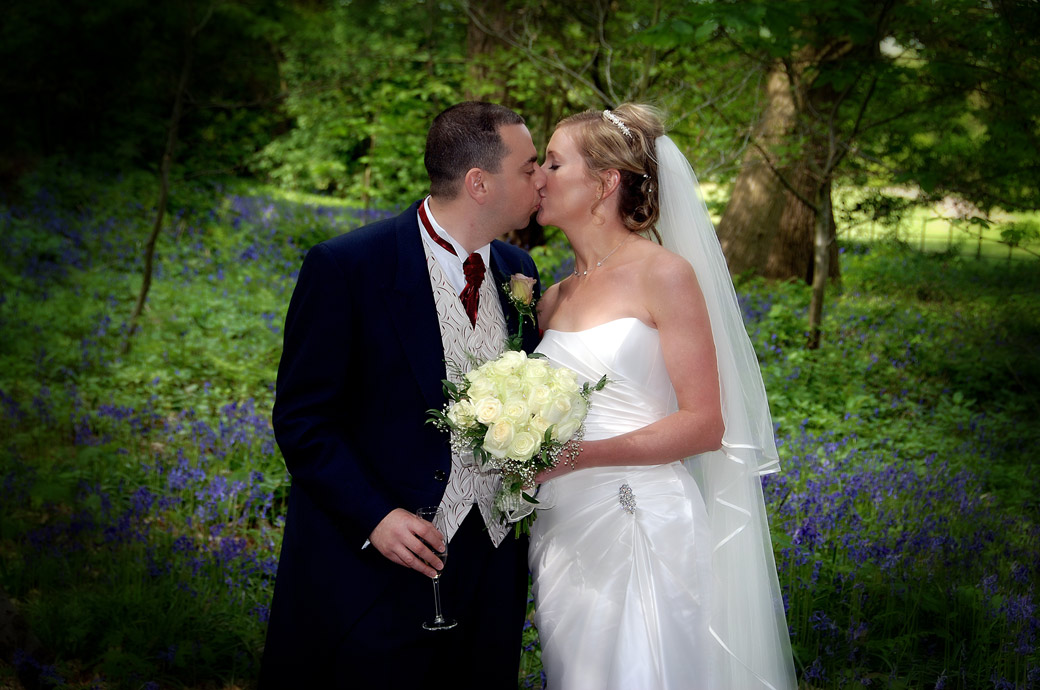 An intimate and romantic Bride and Groom kiss wedding photograph taken amongst the Bluebells in the woods at Painshill Park Cobham wedding venue