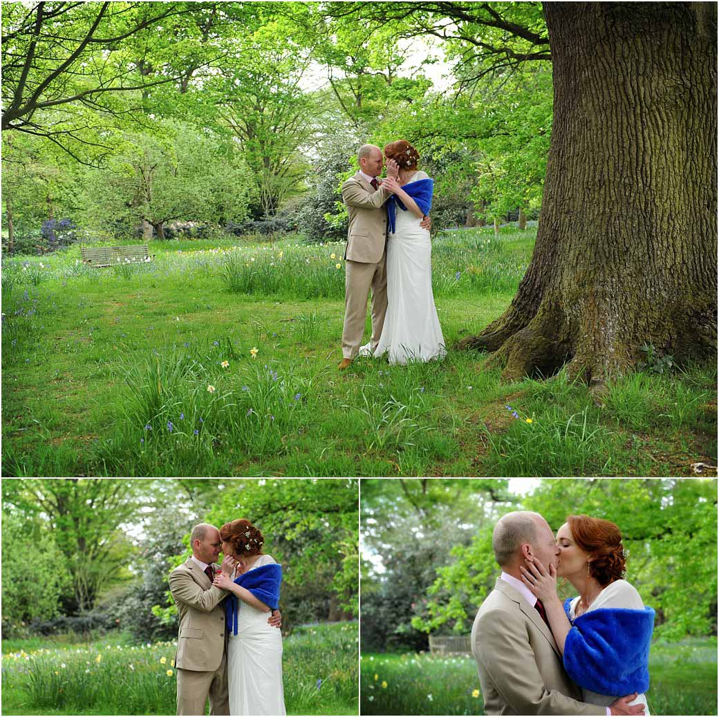 Passionate intimate moments as a Bride and Groom hold each other and kiss by the oak trees in Richmond Park Surrey after their marriage at the Pembroke Lodge wedding venue