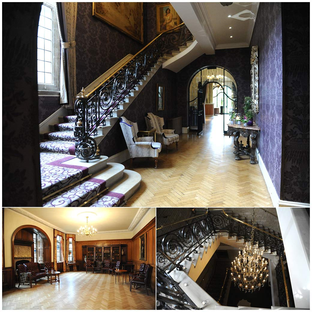 Grand staircases, glittering chandeliers and wooden panelled reception rooms at the exclusive and luxurious Surrey wedding venue Pennyhill Park in Bagshot