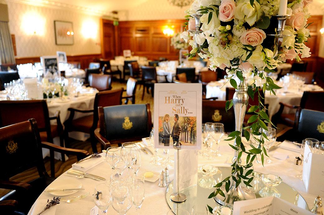 When Harry met Sally table card set out for the wedding breakfast pictured in the Balmoral Suite at luxury wedding venue Pennyhill Park in Surrey