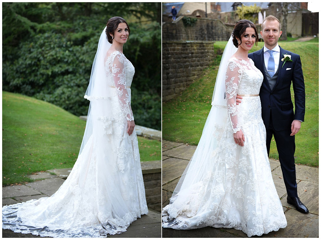 Wedding pictures of a beautiful Bride joined by her handsome husband in the grounds Pennyhill Park in Bagshot a rather exclusive Surrey wedding venue