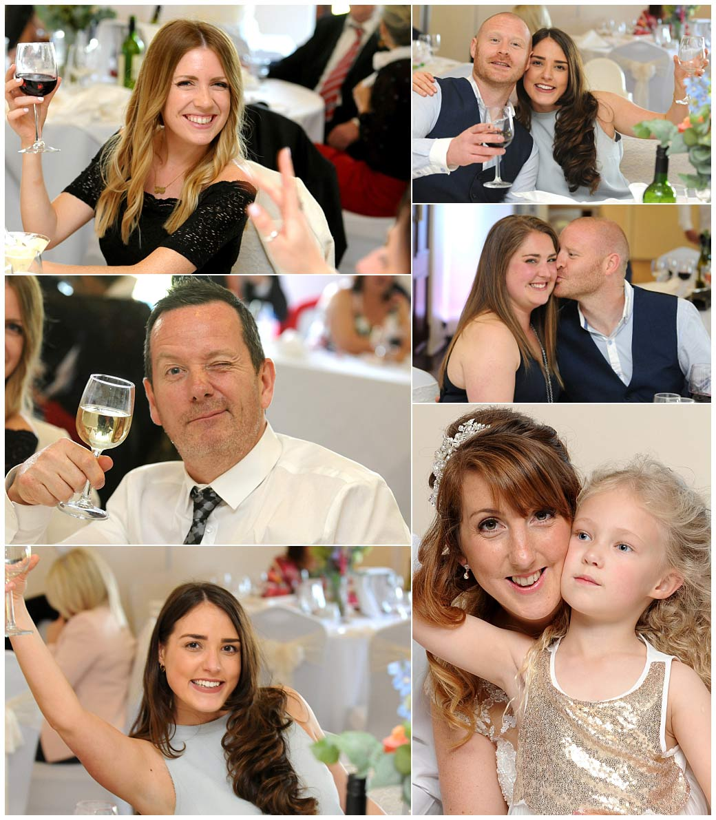 Guests have fun as the wine flows during the lively wedding breakfast captured in The Clarence Suite at Reigate Hill Golf Club in Gatton Bottom Surrey