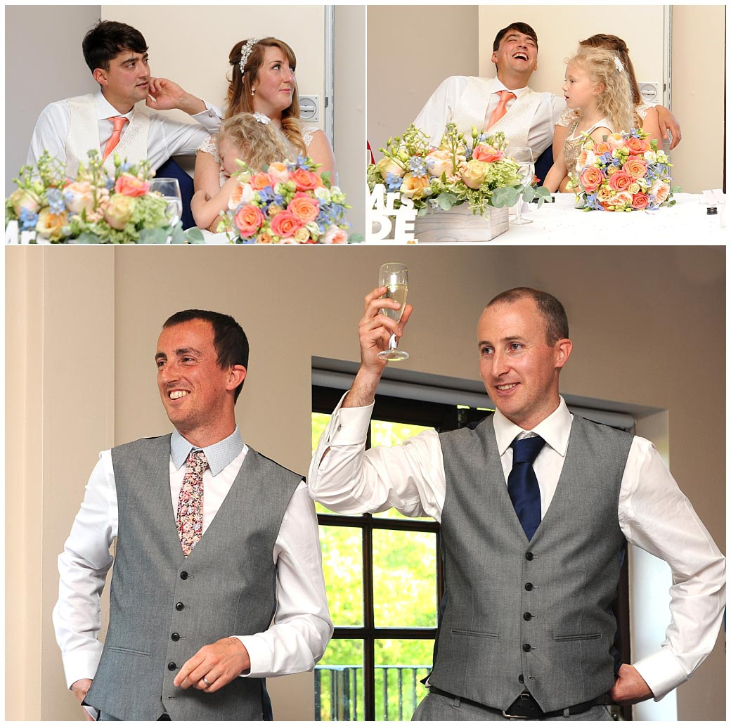 More fun and laughter during the entertaining Bestmens' wedding speech captured in The Clarence Suite at relaxed and popular Surrey venue Reigate Hill Golf Club
