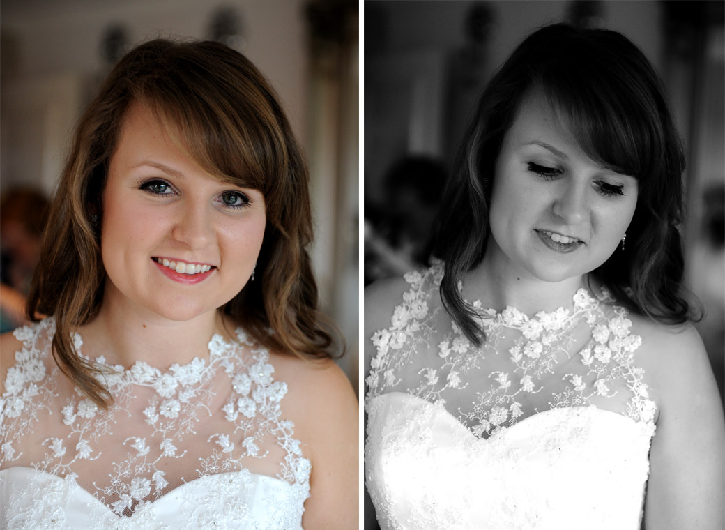 Wedding portraits of a beautiful happy bride before getting ready in the bridal suite for her wedding at Russets Country House a stunning marriage venue in Chiddingfold village