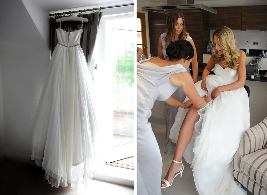 Wedding photos of the Bride's wedding dress and bridesmaids helping the Bride with her garter during morning preparations  followed by the reception at Russets Country House Surrey