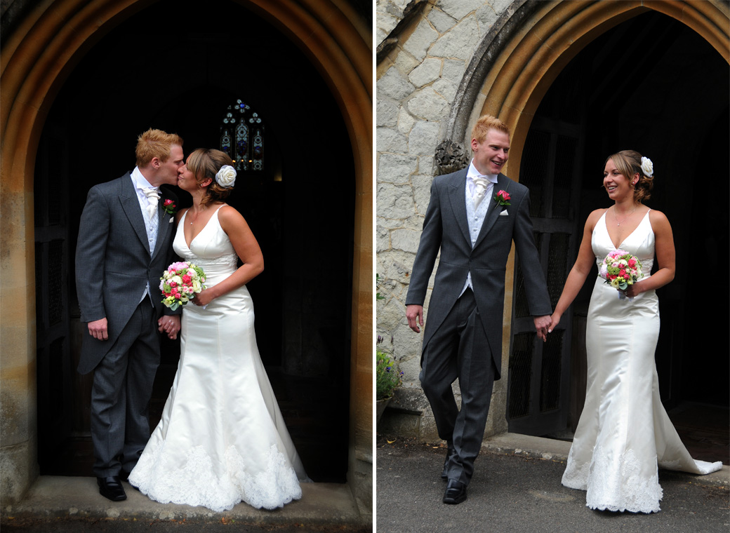 Lovely wedding couple leave the church and kiss wedding photos captured at Surrey wedding venue St Michael's Church Betchworth