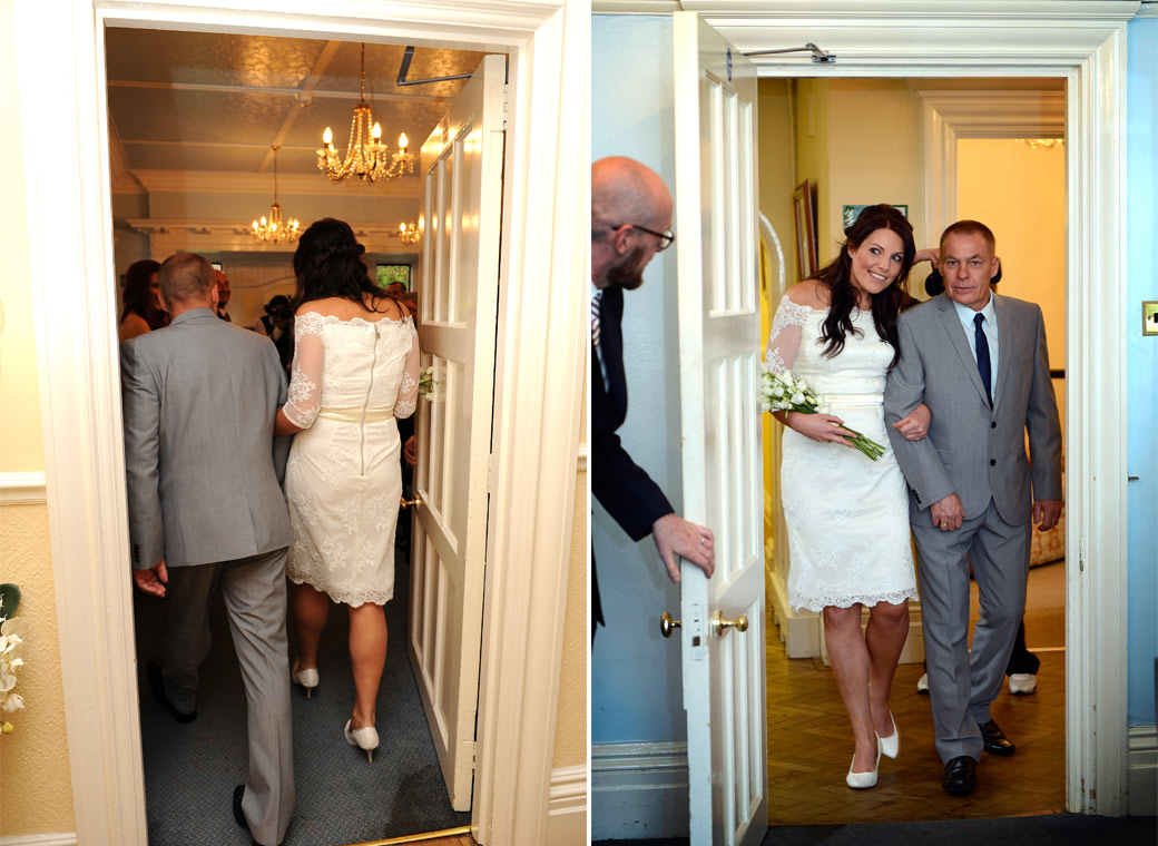 Two fun wedding photos of the Bride peering around the door and entering the ceremony room at the intimate and friendly Surrey wedding venue Sutton Register Office