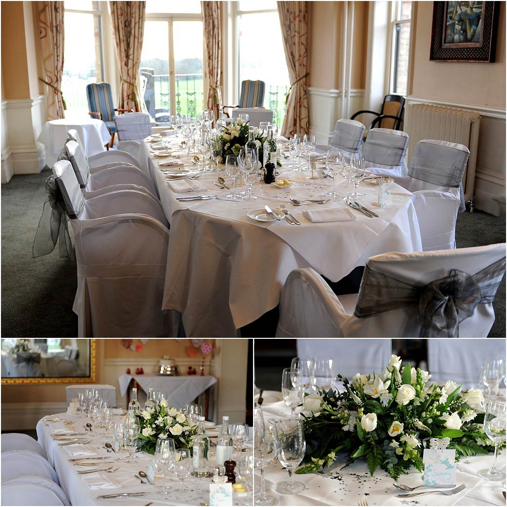 The lovely River Room at Surrey wedding venue The Petersham Hotel in Richmond with its fabulous views over The Thames dressed for the wedding breakfast
