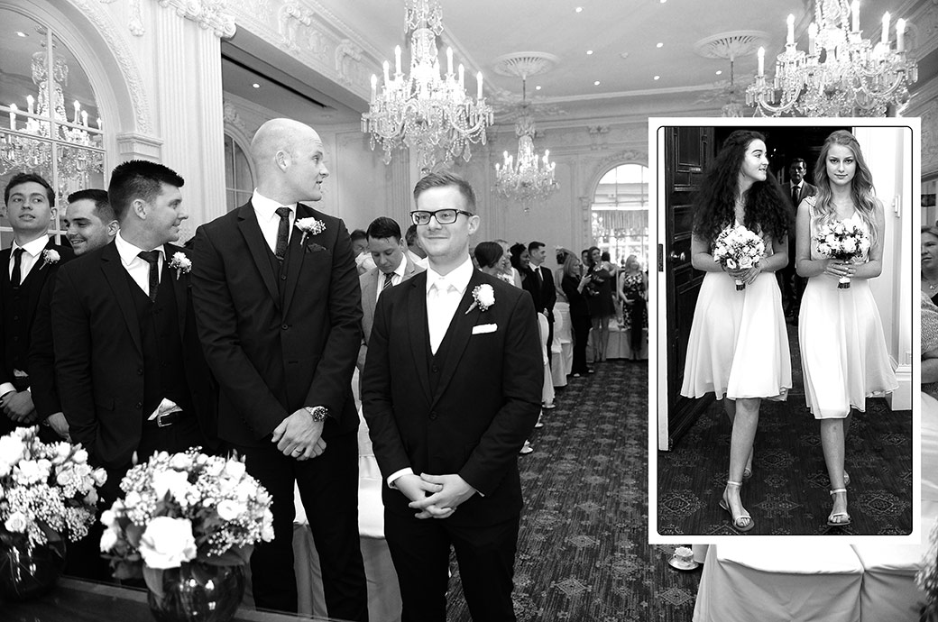 Caught in the moment pictures of a smiling groom as the bridesmaids enter the Warren House wedding ceremony room in Kingston Upon Thames in Surrey
