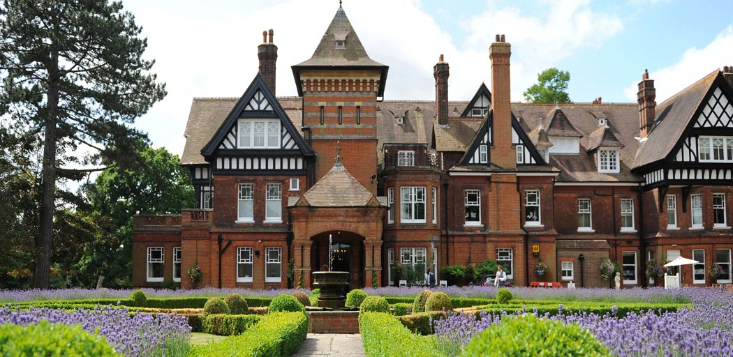 Wedding photograph of the wonderful Victorian Gothic mansion Woodlands Park Hotel a very impressive Surrey wedding venue in Stoke D'Abernon, Cobham