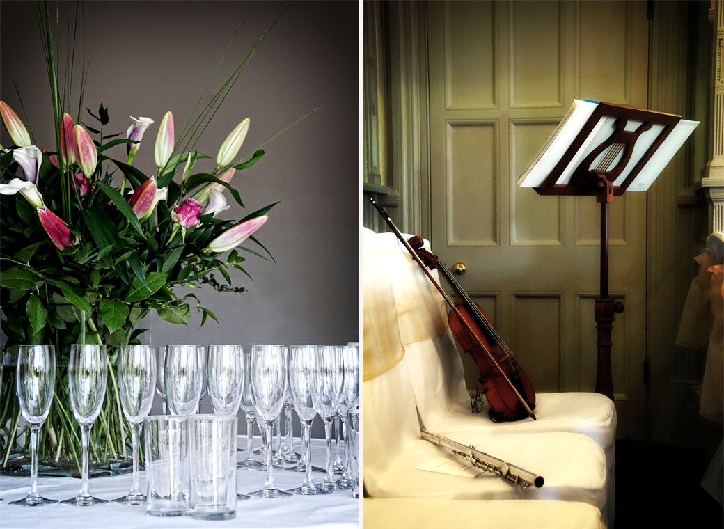Two wedding pictures of champagne glasses with flowers and  musical instruments taken at Woodlands Park Hotel a fine Gothic Surrey wedding venue