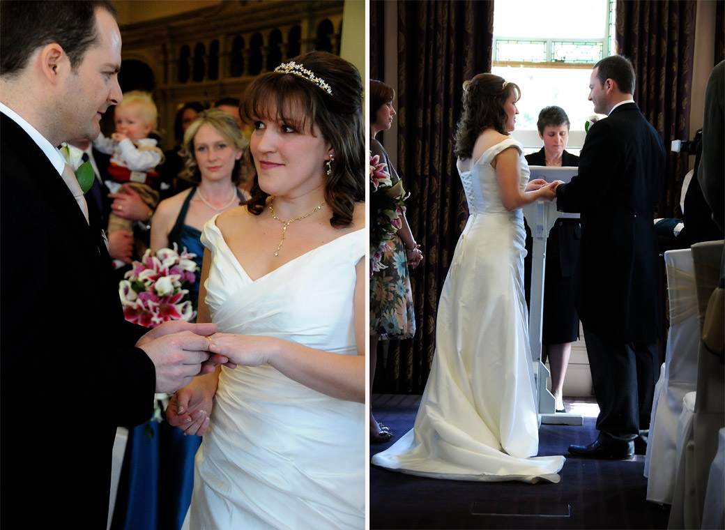 Two delightfully romantic wedding pictures of the couple holding each other's hands at Woodlands Park Hotel in Surrey as they say their wedding vows