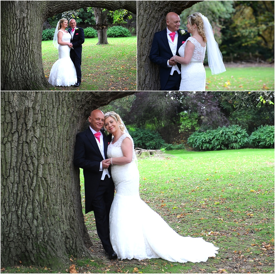 A series of romantic wedding pictures of the bride and groom taken in the grounds of the wonderful Surrey wedding venue Woodlands Park Hotel by some trees