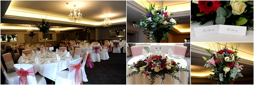 Rich table flower displays and Bride and groom place names on show at the welcoming Woodlands Park Hotel wedding breakfast set in the beautiful Surrey countryside