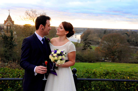 Wedding couple in front of the iconic Richmond Hill view picture taken at a wedding across the road at Richmond Gate Hotel Surrey
