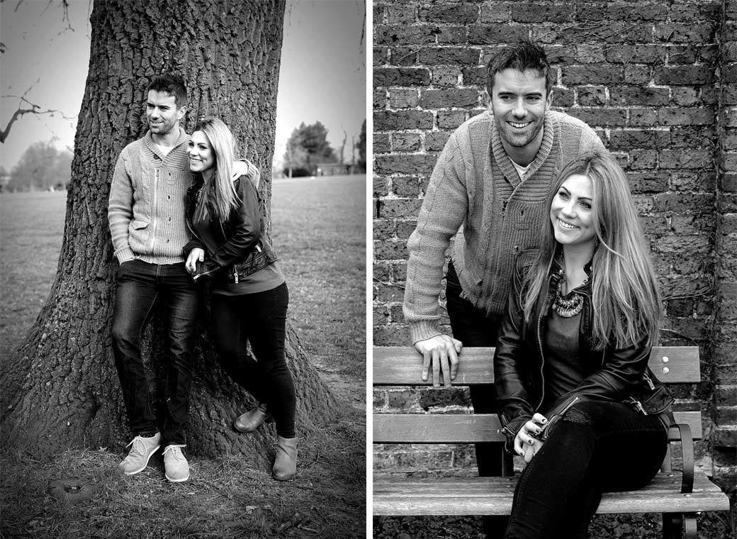 Smiling happy couple looking relaxed in Brockwell Park in these two relaxed pre wedding pictures taken by tow Surrey Lane wedding photographers
