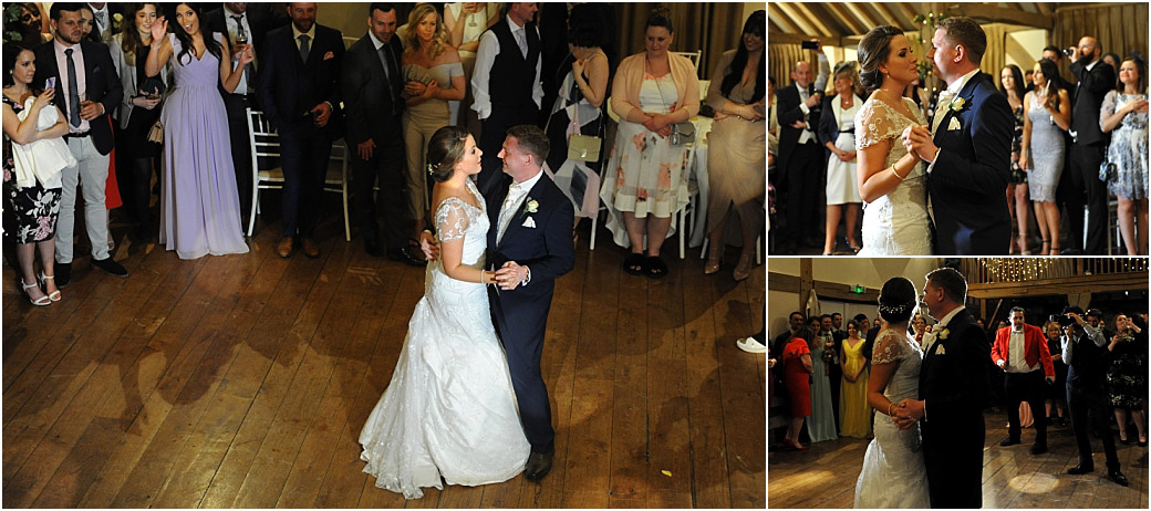Romantic wedding pictures of a Bride and groom captured during their first dance at Surrey wedding venue Cain Manor in the Music Room