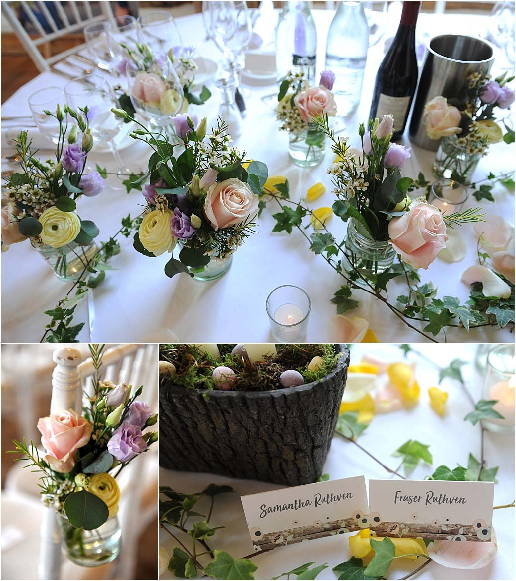 Pastel coloured roses, Easter Eggs and ivy set out on the tables ready for the bright Easter themed wedding breakfast at Surrey venue Cain Manor